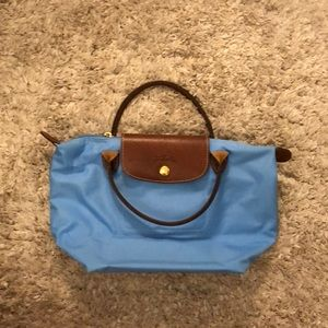 Small Blue and Brown Longchamp Purse